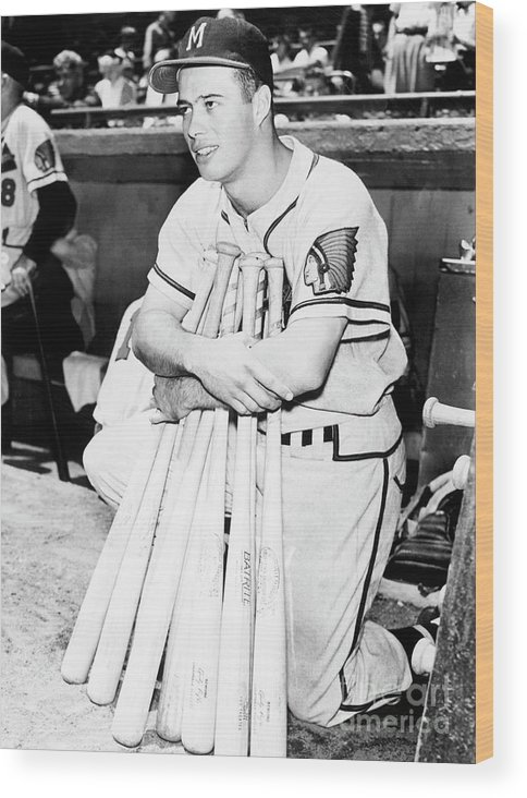 1950-1959 Wood Print featuring the photograph Eddie Mathews by National Baseball Hall Of Fame Library