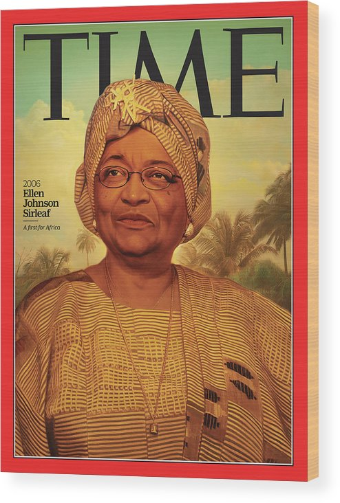 Time Wood Print featuring the photograph Ellen Johnson Sirleaf, 2006 by Illustration by Tim O'Brien