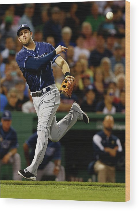 American League Baseball Wood Print featuring the photograph Evan Longoria by Jared Wickerham