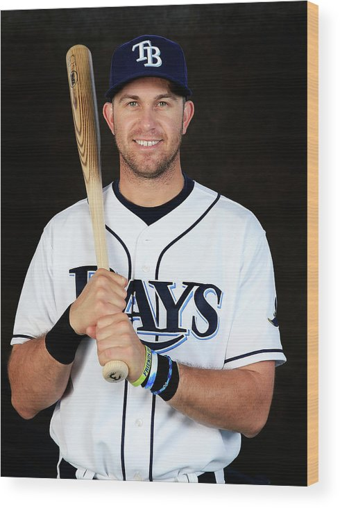 Media Day Wood Print featuring the photograph Evan Longoria by Rob Carr