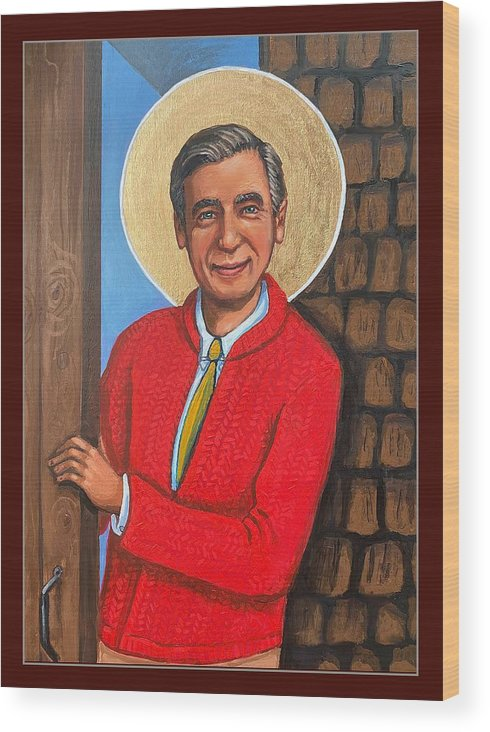 Wood Print featuring the painting Fred Rogers by Kelly Latimore