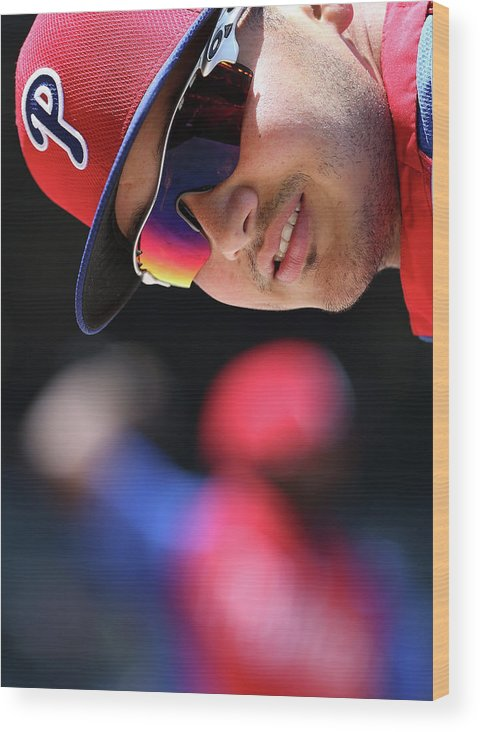 National League Baseball Wood Print featuring the photograph Freddy Galvis by Christian Petersen