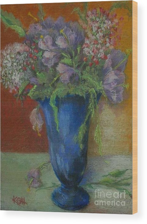 Floral Wood Print featuring the painting Fresia in Cobalt Blue        copyrighted by Kathleen Hoekstra