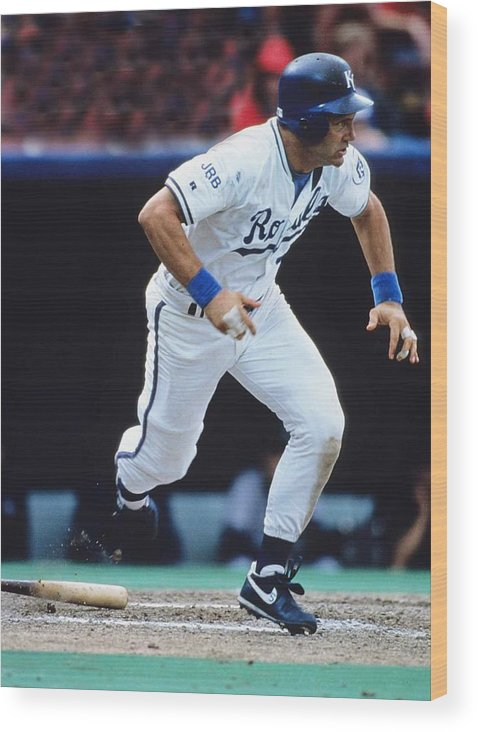 American League Baseball Wood Print featuring the photograph George Brett by Ronald C. Modra/sports Imagery