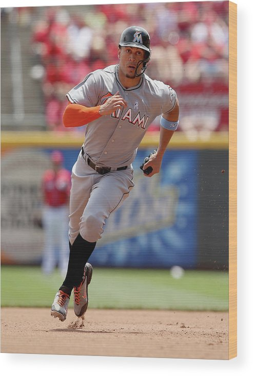 Great American Ball Park Wood Print featuring the photograph Giancarlo Stanton by Andy Lyons