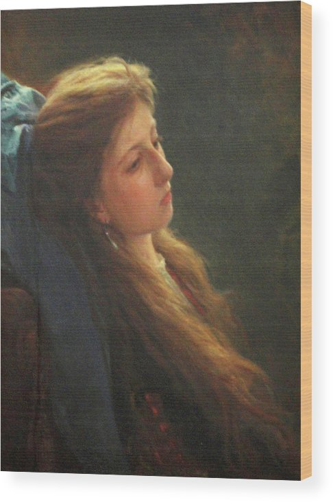 Tretyakov Gallery Moscow Wood Print featuring the painting Girl with a Loose Braid by Ivan Kramskoy