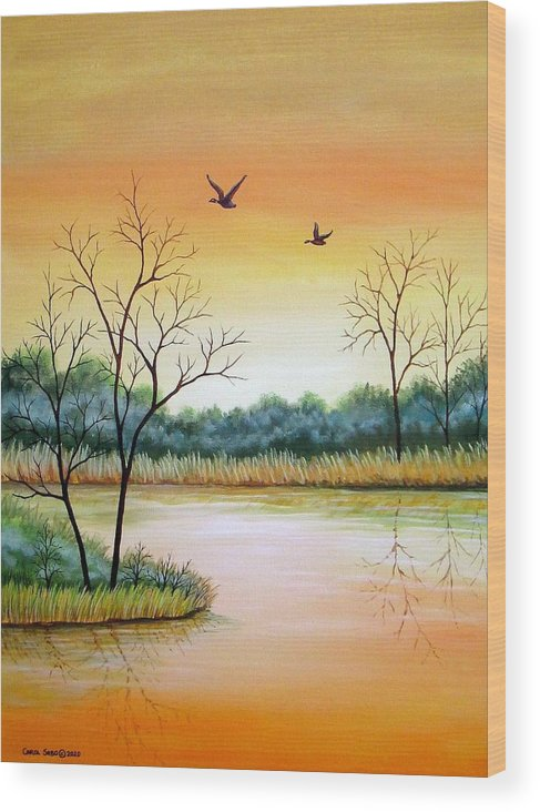 Acrylic Wood Print featuring the painting Heading Home by Carol Sabo