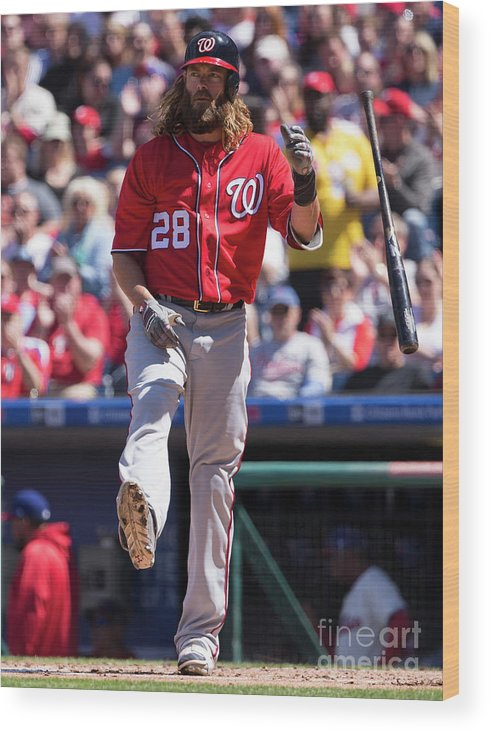 Second Inning Wood Print featuring the photograph Jayson Werth by Mitchell Leff