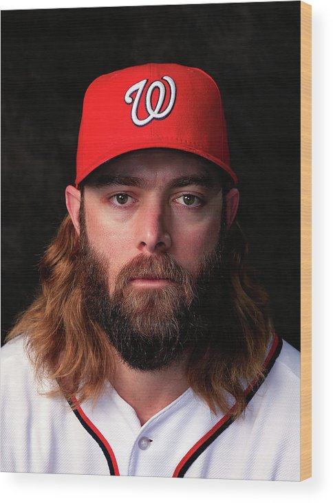 Media Day Wood Print featuring the photograph Jayson Werth by Rob Carr