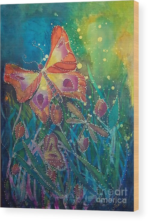 Silk Painting Wood Print featuring the painting Jeweled Butterfly Fantasy by Francine Dufour Jones