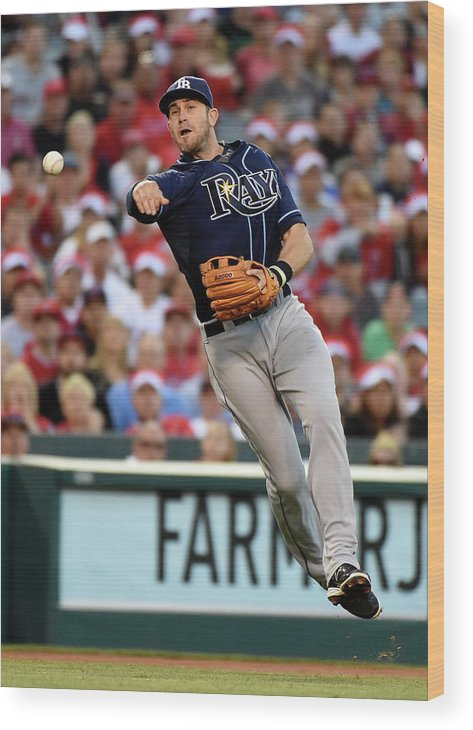 People Wood Print featuring the photograph Johnny Giavotella and Evan Longoria by Harry How