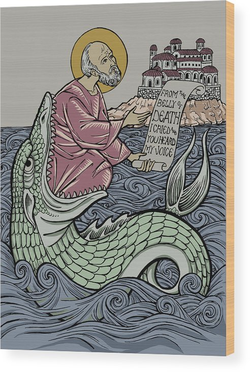 Jonah Wood Print featuring the drawing Jonah and The Sea Monster by Jonathan Pageau