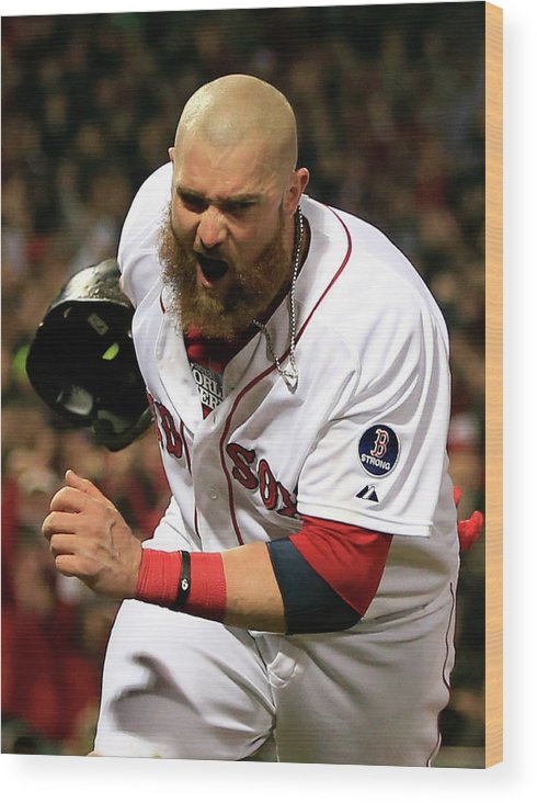 Playoffs Wood Print featuring the photograph Jonny Gomes and Shane Victorino by Jamie Squire