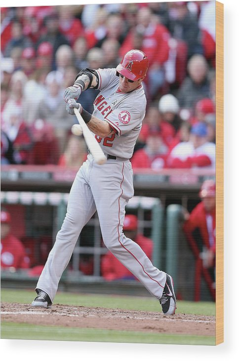 Great American Ball Park Wood Print featuring the photograph Josh Hamilton by Andy Lyons