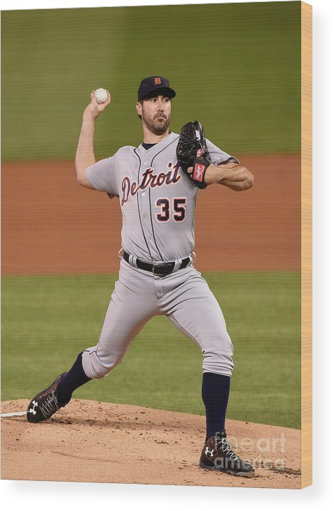 Game Two Wood Print featuring the photograph Justin Verlander by Hannah Foslien