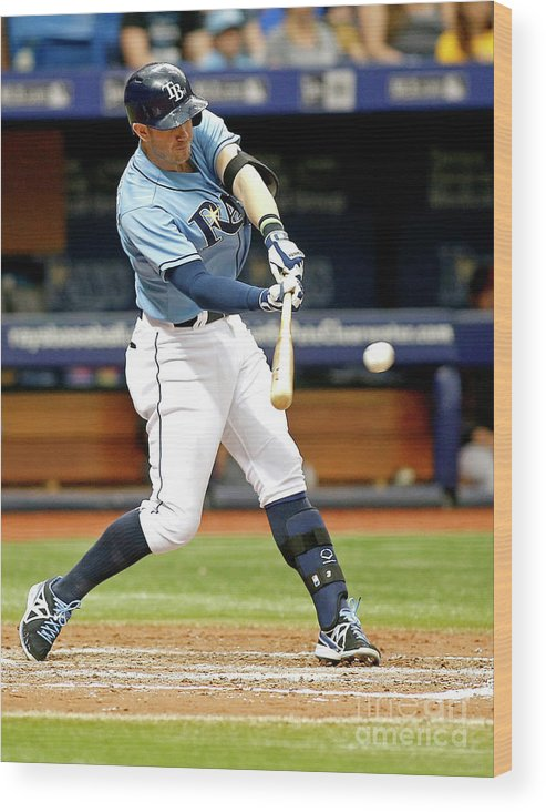 People Wood Print featuring the photograph Logan Forsythe and Evan Longoria by Brian Blanco