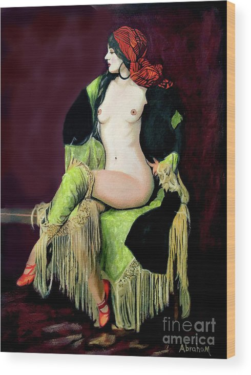 Women Wood Print featuring the painting Looking Good by Jose Manuel Abraham