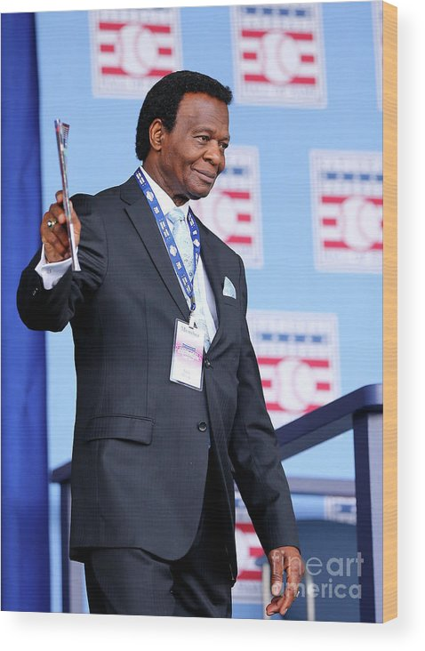 Three Quarter Length Wood Print featuring the photograph Lou Brock by Elsa