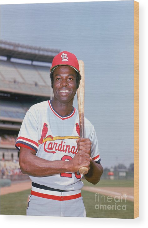 St. Louis Cardinals Wood Print featuring the photograph Lou Brock by Lou Requena