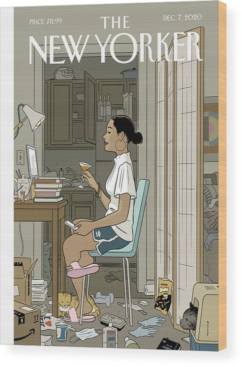 Pandemic Wood Print featuring the digital art Love Life by Adrian Tomine