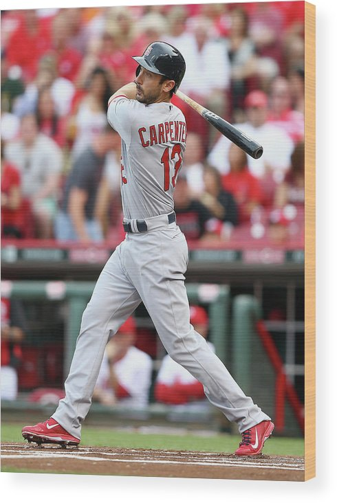 Great American Ball Park Wood Print featuring the photograph Matt Carpenter by Andy Lyons
