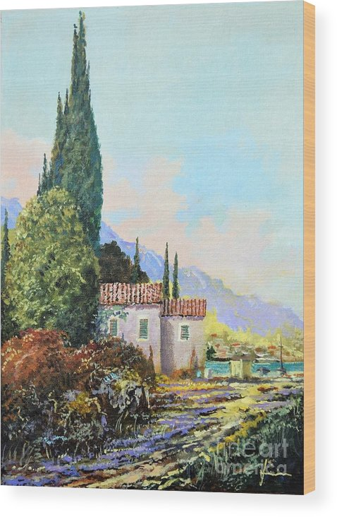 Original Painting Wood Print featuring the painting Mediterraneo 2 by Sinisa Saratlic