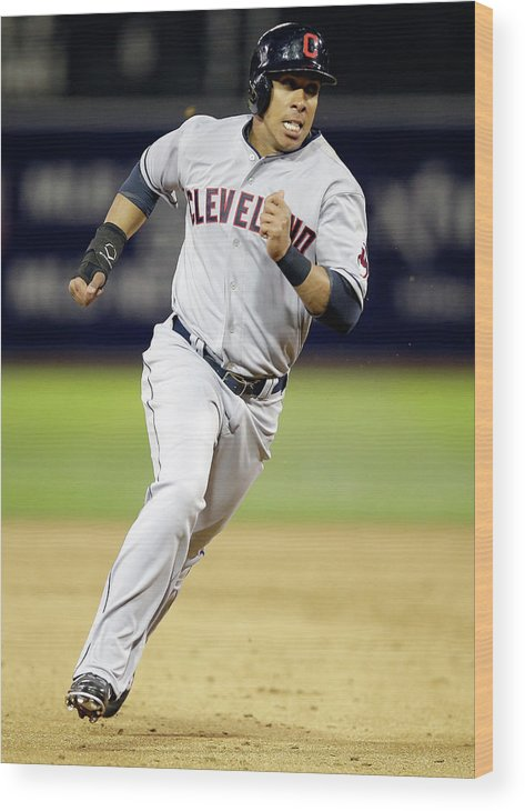 American League Baseball Wood Print featuring the photograph Michael Brantley by Ezra Shaw