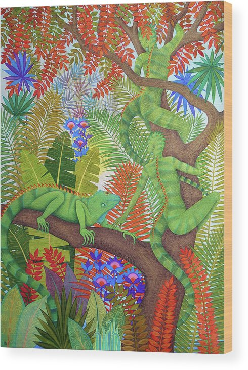 Iguana Wood Print featuring the painting Mysterious Creatures by Jennifer Baird