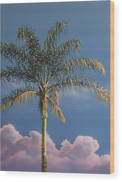 Palm Tree Wood Print featuring the painting PalmTree at Sunrise by Philip Fleischer