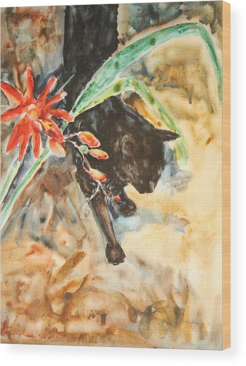 Cat Flower Wood Print featuring the painting Panther With Passion Flower by Helen Hickey