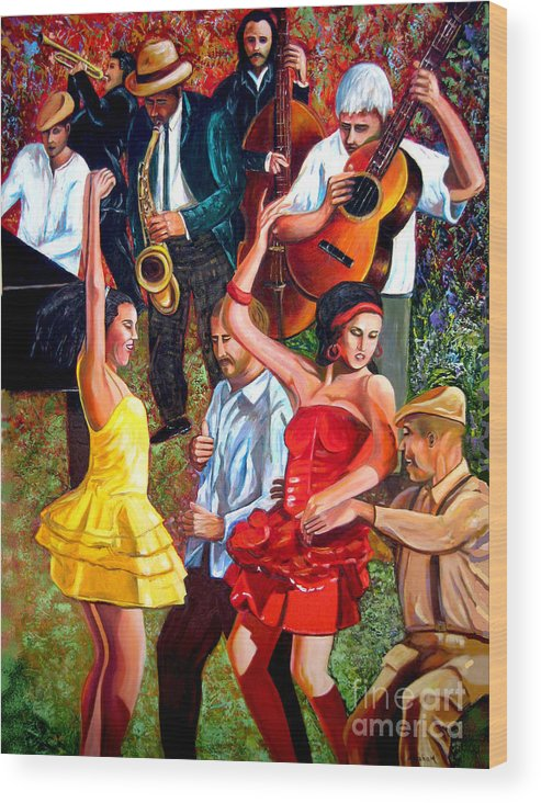 Cuban Art Wood Print featuring the painting Party times by Jose Manuel Abraham