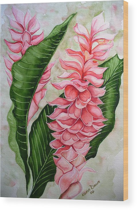 Flower Painting Floral Painting Botanical Painting Ginger Lily Painting Original Watercolor Painting Caribbean Painting Tropical Painting Wood Print featuring the painting Pink Ginger Lilies by Karin Dawn Kelshall- Best