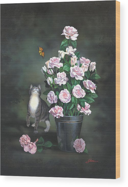 #cat Wood Print featuring the painting Playing Among The Roses by Harold Shull