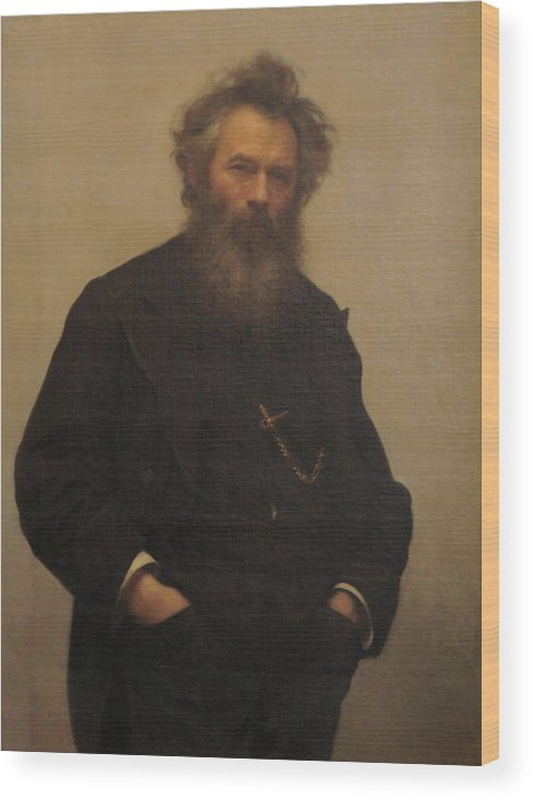 Ivan Kramskoy Wood Print featuring the painting Portrait of Ivan Shishkin by Ivan Kramskoy