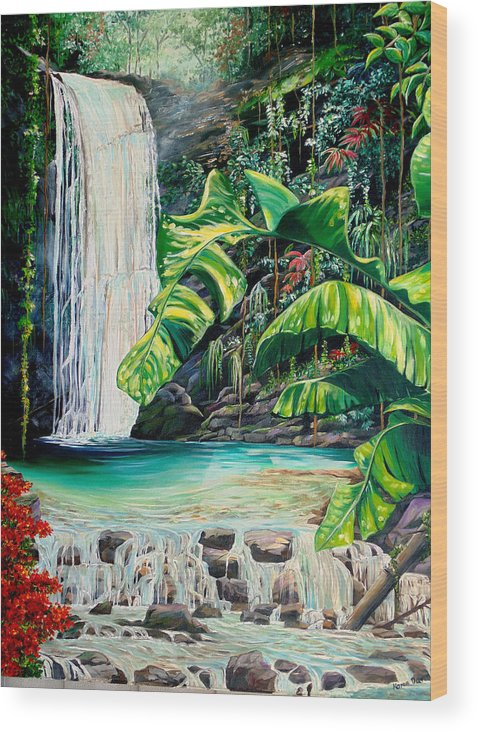 Water Fall Painting Landscape Painting Rain Forest Painting River Painting Caribbean Painting Original Oil Painting Paria Northern Mountains Of Trinidad Painting Tropical Painting Wood Print featuring the painting Rainforest Falls Trinidad.. by Karin Dawn Kelshall- Best