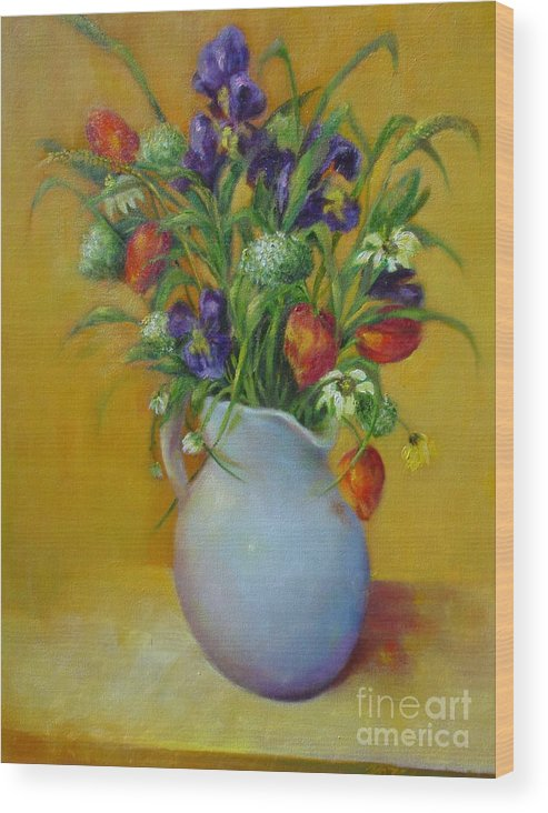 Traditional Floral Wood Print featuring the painting Red Tulips and Blue Iris              copyrighted by Kathleen Hoekstra