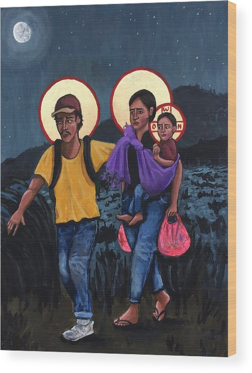 Wood Print featuring the painting Refugees La Sagrada Familia by Kelly Latimore