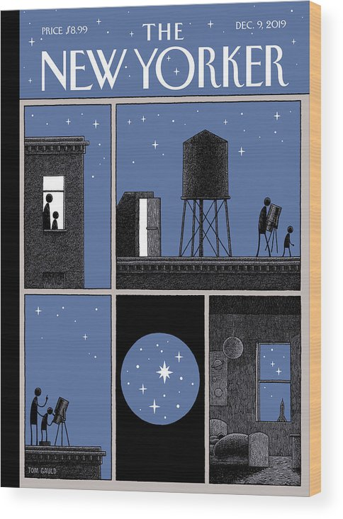 Rooftop Astronomy Wood Print featuring the drawing Rooftop Astronomy by Tom Gauld