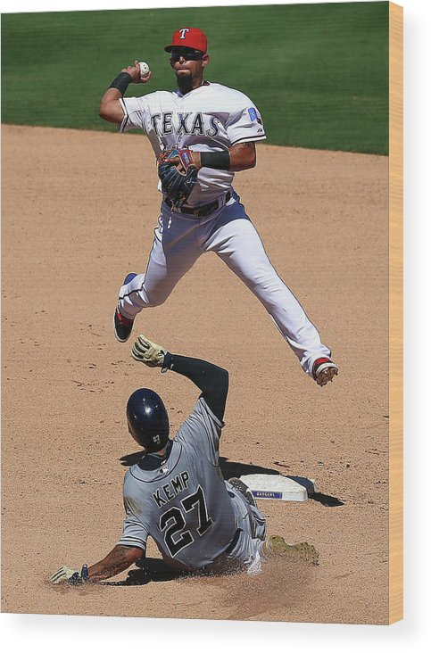 People Wood Print featuring the photograph Rougned Odor and Matt Kemp by Ronald Martinez
