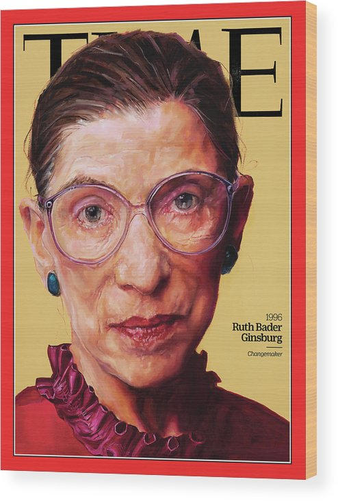 Time Wood Print featuring the photograph Ruth Bader Ginsburg, 1996 by Painting by Shana Wilson for TIME