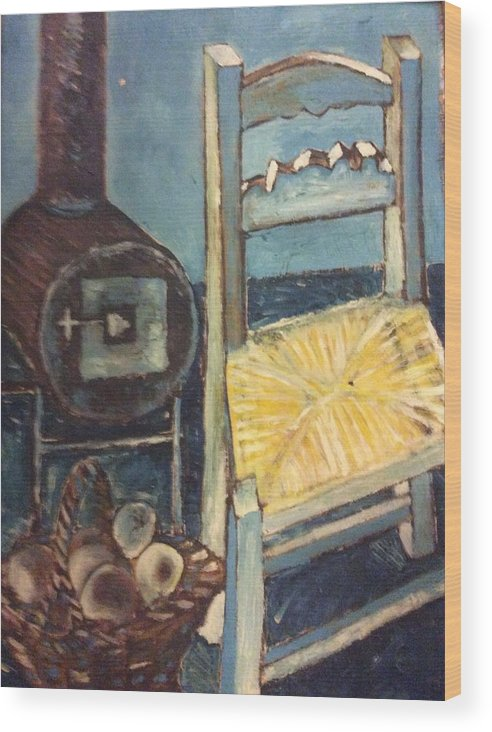 Interior Wood Print featuring the painting Stove and chair by Biagio Civale