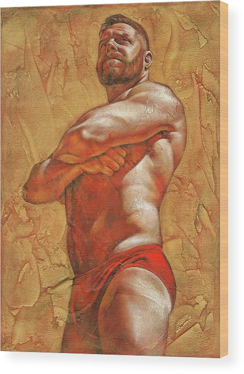 Male Wood Print featuring the painting Sunny by Chris Lopez