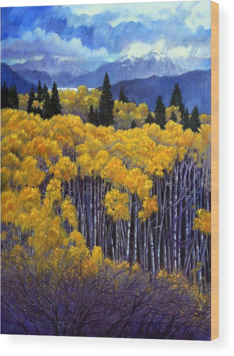 Snow Clouds Over Rocky Mountains Wood Print featuring the painting Tall Aspens by John Lautermilch