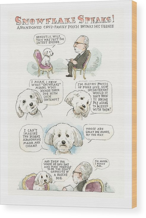 Ted Cruz's Dog Dishes Wood Print featuring the painting Ted Cruz's Dog Dishes by Barry Blitt