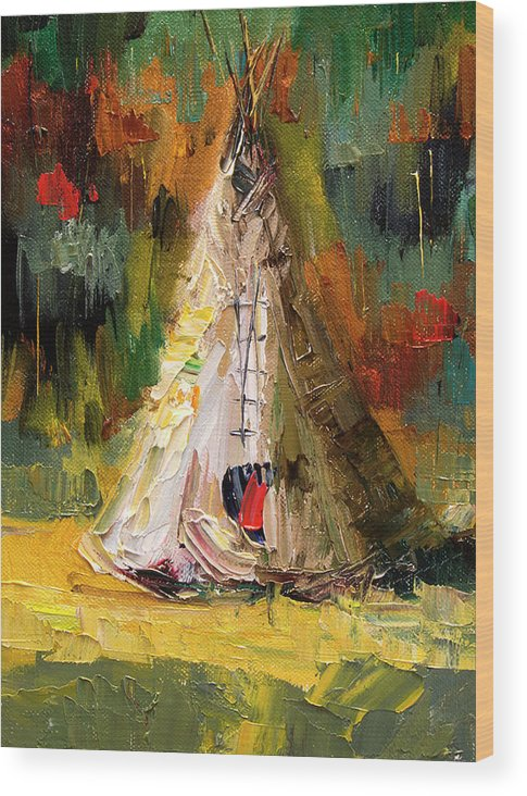 Western Art Wood Print featuring the painting Tempting Tepee by Diane Whitehead