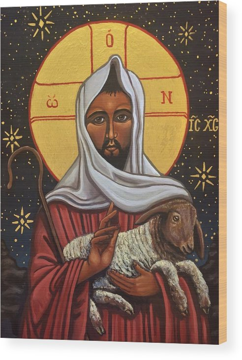 Wood Print featuring the painting The Good Shepherd by Kelly Latimore
