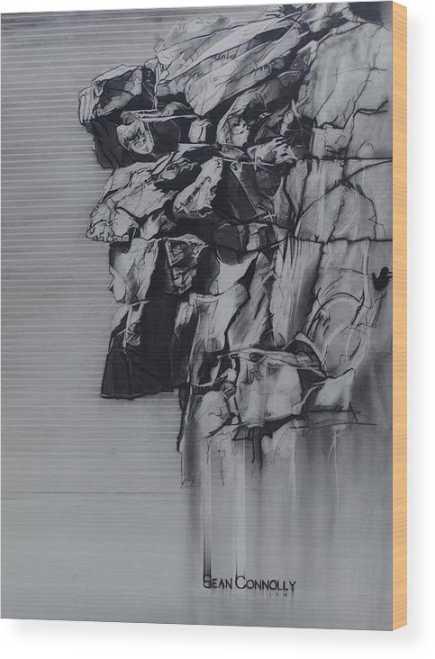 Charcoal Pencil Wood Print featuring the drawing The Old Man Of The Mountain by Sean Connolly