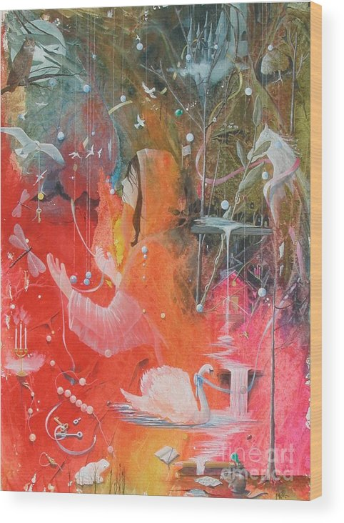 Fantasy Wood Print featuring the painting The Prayer by Jackie Mueller-Jones