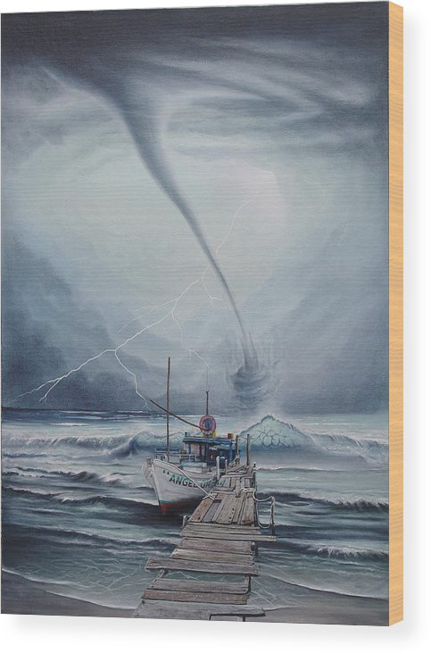Seascape Wood Print featuring the painting Tifon   water sprout by Angel Ortiz