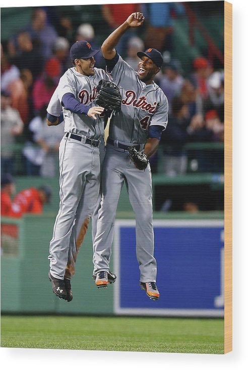 American League Baseball Wood Print featuring the photograph Torii Hunter and Austin Jackson by Jared Wickerham